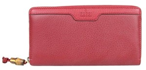 Gucci Hip Bamboo Leather Zip Around Clutch Wallet 339178 Pink Red 6236