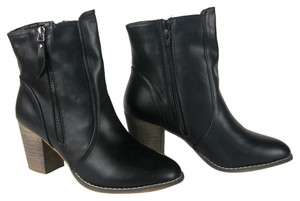 Bucco Pleather Boot Bootie Classic Black Boots