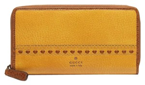 Gucci Leather/GG Canvas Zip Around Clutch Wallet 338580 Yellow Leather 7073