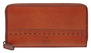 Gucci Canvas Zip Around Clutch Wallet 338580 Dark Orange Leather 7073