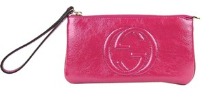 Gucci Soho Soft Patent Leather Wrist Wallet Wristlet 295840 Fuchsia 5523