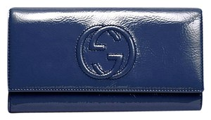 Gucci Soho Soft Patent Leather Continental Clutch Wallet 282414 Blue4233