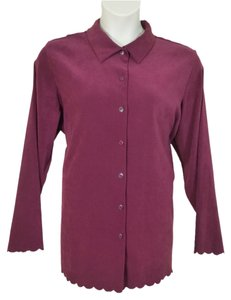 Denim & Co. Brushed Polyester Button Down Shirt burgundy