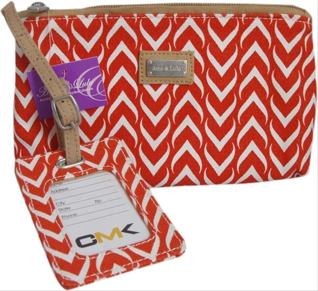 Item - Multi-color (Orange White) Astor with Matching Astor Luggage Tag New Cosmetic Bag