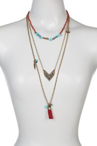 Jules Smith Jules Smith Three Layered Tassel Necklace Gold Tone