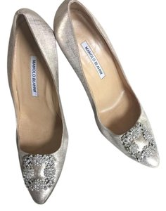 Manolo Blahnik Bronze Satin Pumps