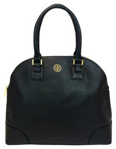 Tory Burch Robinson Large Saffiano Leather Dome Satchel in Black