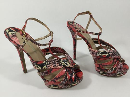 Nicholas Kirkwood Platform Snakeskin Multicolor Reds, Peaches, Pinks, Blacks Sandals