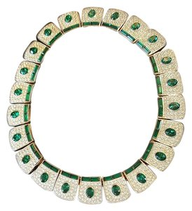 Boucher 22 Oval Emeralds & 44 Baguette Emeralds with Crystals Necklace
