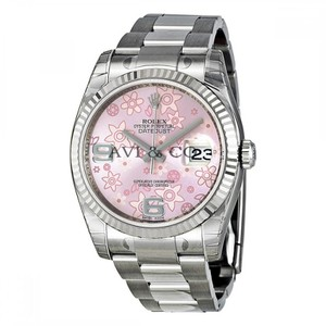 Rolex Datejust 36 Steel & White Gold Watch Pink Floral Motif Dial 116234