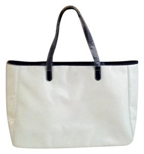 Saks Fifth Avenue Weekender Tote in White and Black