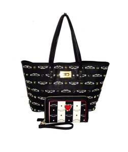 Betsey Johnson Oversized Wallet Studded Tote in black