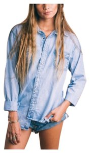 One Teaspoon Button Down Shirt Blue Tencel Denim