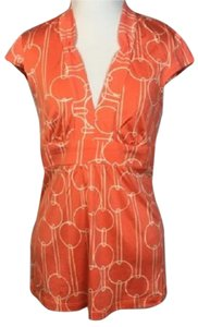 Trina Turk Silk Cap Sleeve Geo Geometric Print Top Orange/White