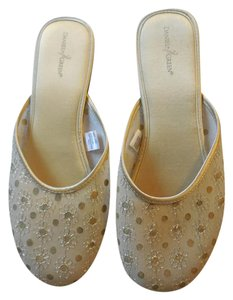 Daniel Green Fabric Embroidered Gold Mules