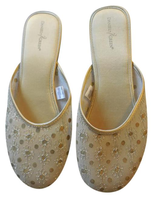 Item - Gold With Embroidered Flower Slipper Mules/Slides Size US 11 Regular (M, B)