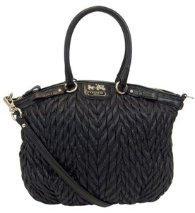 Coach Nylon Quilted Chevron Lindsey Handbag Satchel in Black