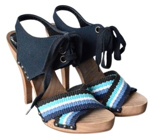 Stella McCartney Canvas Wooden Heels Navy Sandals