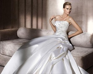 Pronovias Banjo Satin Beaded Ballgown Wedding Dress