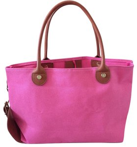 Brooks Brothers Baby Blue Canvas & Leather Tote in Pink