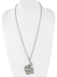 PAVE CRYSTAL STONE PEACOCK PENDANT NECKLACE