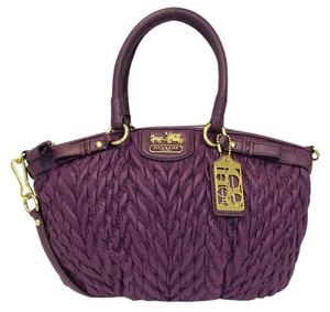 Coach 70th Anniversary Madison Quilted Chevron Nylon Satchel in Plum
