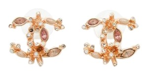 Chanel Chanel #7956 CC Coral Pink gold hardware pierced stud earrings
