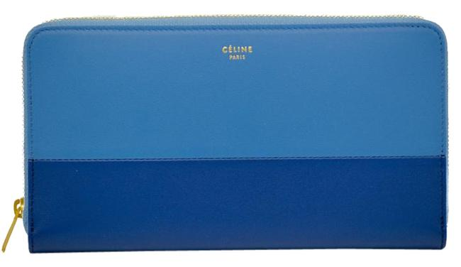 """Item - Blue Solo Large Zipped Multifunction """"Solo"""" In / Two Toned Wallet"""