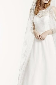David's Bridal Cathedral Veil With Chantilly Lace Edge Design