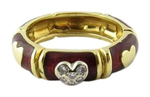 Hidalgo Hidalgo 18K Yellow Gold Red Enamel and Diamond Heart Band Size 6.5