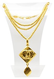 Chanel #8289 large CC diamond shape charm long bead chain necklace