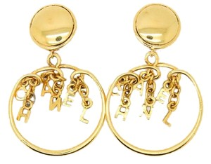 Chanel Chanel #7458R Gold CC Logo spelled out dangle loop clip on earrings