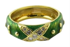 Hidalgo Hidalgo 18K Yellow Gold Green Enamel and Diamond X Ring Size 6.5