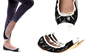 Bloch Classic Two-tone Ballerina Patent Leather Black/Snow White Flats