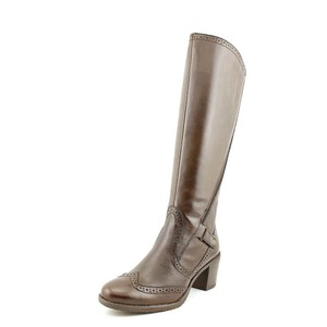 Bussola Style Brogue Wingtip Knee High Brown Boots
