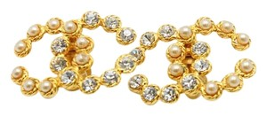 Chanel #8502 CC Large XL pearl crystals gold earrings.