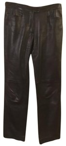 Armani Collezioni Leather Luxury Fashion Fall Straight Pants Black