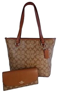 Coach Signature Slim Tote in Khaki / Saddle
