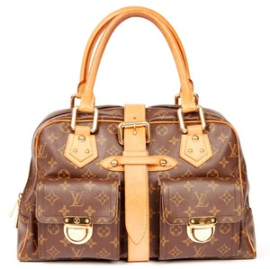 Louis Vuitton Manhatten Classic Monogram Canvas Satchel in Brown