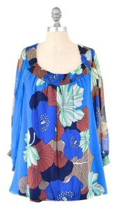 Tibi Bright Floral Crinkled Silk Chiffon Peasant Top Blue Floral