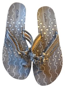 Clarks Flower Accents Braided No Box Platinum Sandals