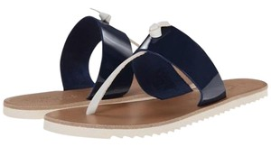 Joie Two-tone Navy & White Patent Leather Sandals