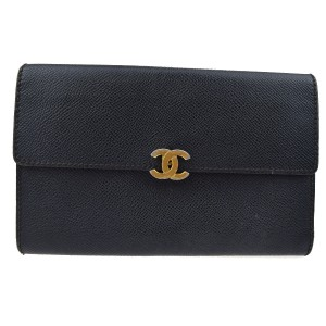 Chanel CC Logos Long Trifold Wallet Purse Leather Black Italy Clutch Bag
