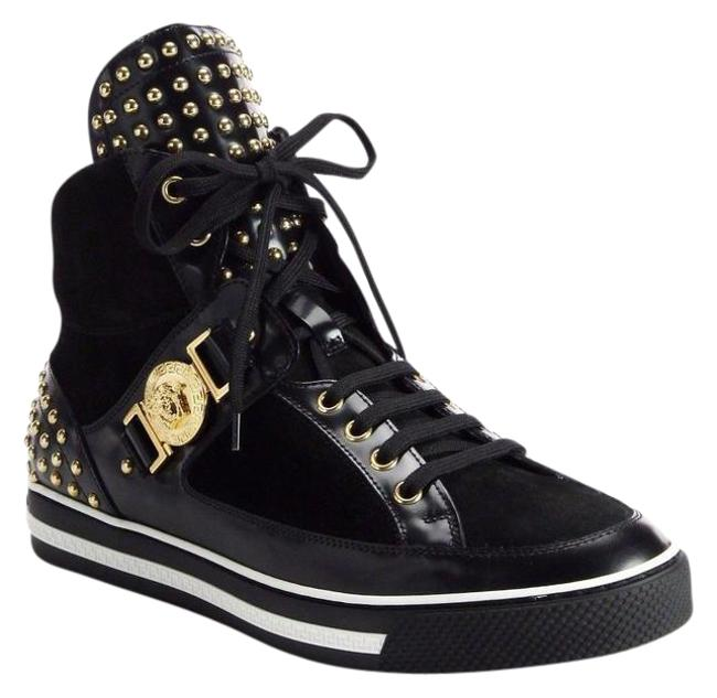 Versace Black New Studded High-top Sneakers 39.5 - 6.5 Shoes Versace Black New Studded High-top Sneakers 39.5 - 6.5 Shoes Image 1