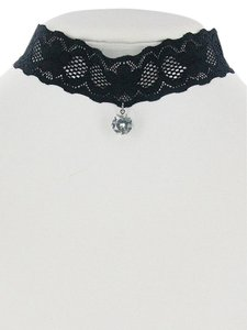 Black Lace Crystal Pendant Charm Choker Necklace