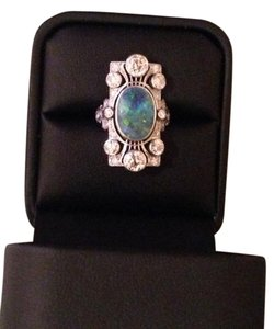 Lady's Black Opal & Diamond Dinner Ring