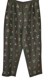 Talbots Petites Capri/Cropped Pants Brown with Multi Embroidery