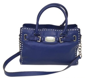 Michael Kors Pebbled Silver Hardware Satchel in Blue
