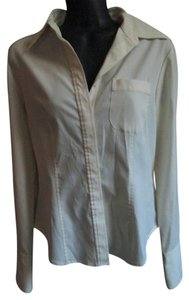 Express White Career Job Work Stretch Button Down Shirt Ivory