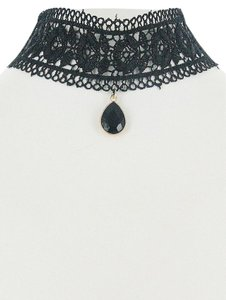 Black Lace Teardrop Pendant Charm Choker Necklace